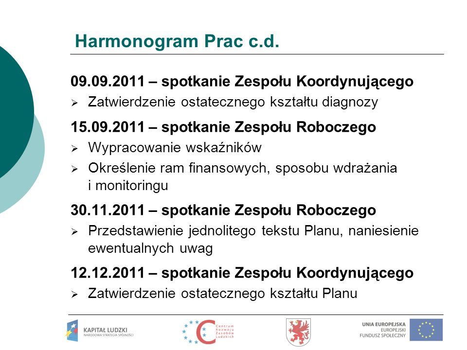 Harmonogram Prac c.d. 09.09.2011 – spotkanie Zespołu Koordynującego