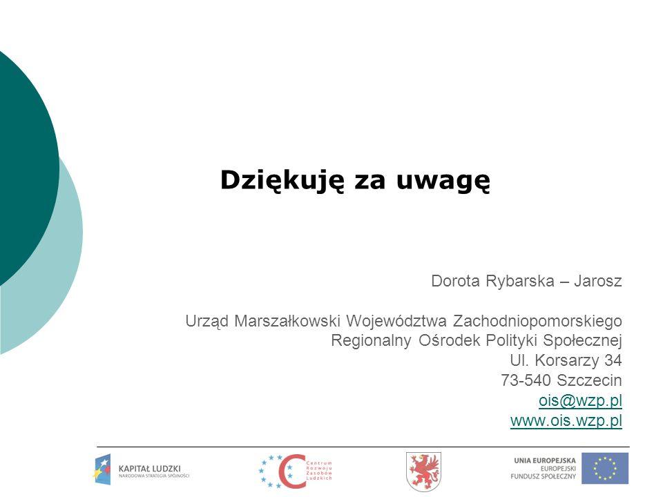 Dziękuję za uwagę Dorota Rybarska – Jarosz
