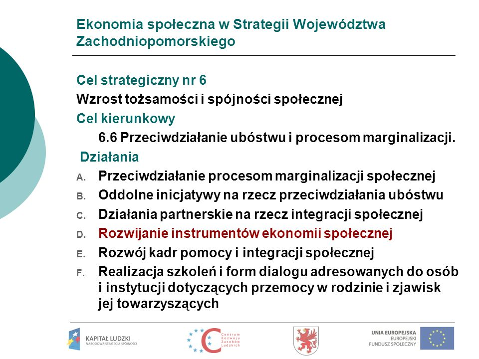 Ekonomia społeczna w Strategii Województwa Zachodniopomorskiego