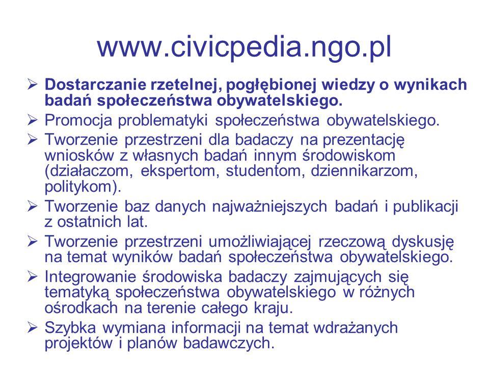 www.civicpedia.ngo.pl Dostarczanie rzetelnej, pogłębionej wiedzy o wynikach badań społeczeństwa obywatelskiego.