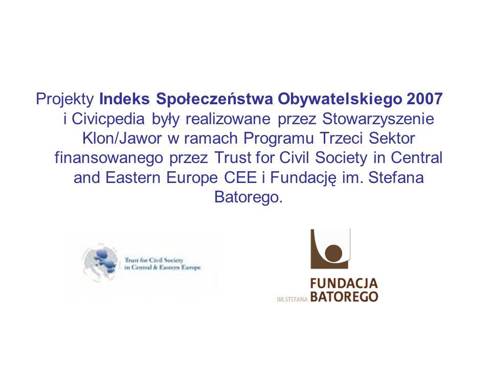 Projekty Indeks Społeczeństwa Obywatelskiego 2007 i Civicpedia były realizowane przez Stowarzyszenie Klon/Jawor w ramach Programu Trzeci Sektor finansowanego przez Trust for Civil Society in Central and Eastern Europe CEE i Fundację im.
