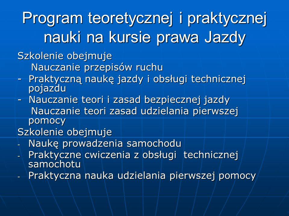 Program teoretycznej i praktycznej nauki na kursie prawa Jazdy