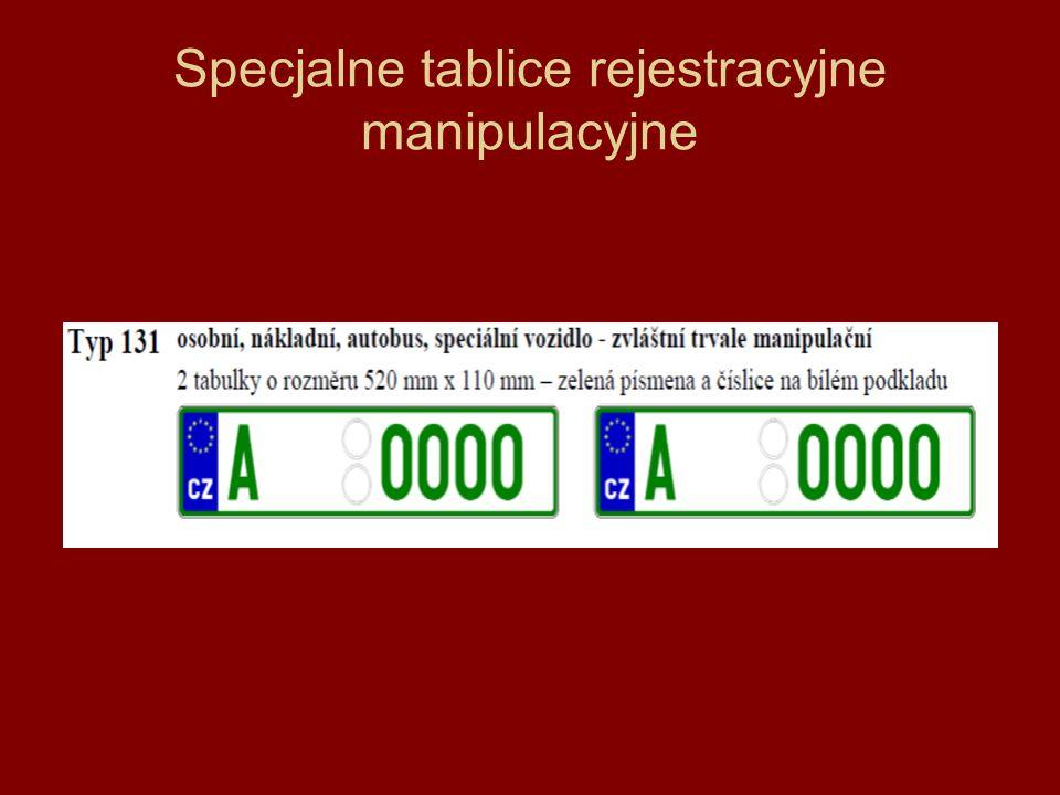 Specjalne tablice rejestracyjne manipulacyjne