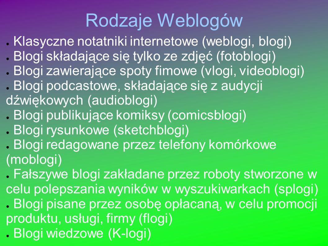 Rodzaje Weblogów Klasyczne notatniki internetowe (weblogi, blogi)