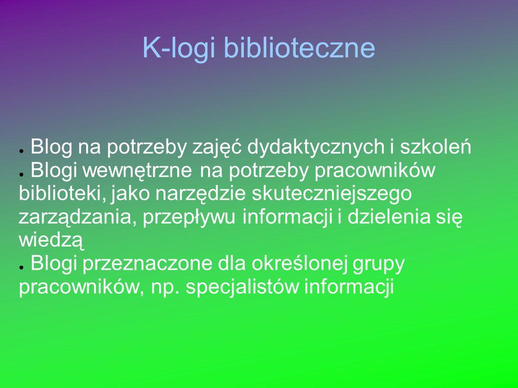 K-logi biblioteczne Blog na potrzeby zajęć dydaktycznych i szkoleń