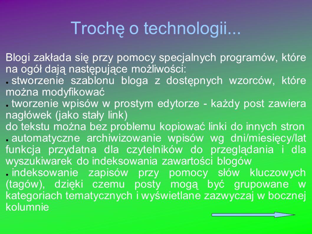 Trochę o technologii... Blogi zakłada się przy pomocy specjalnych programów, które na ogół dają następujące możliwości: