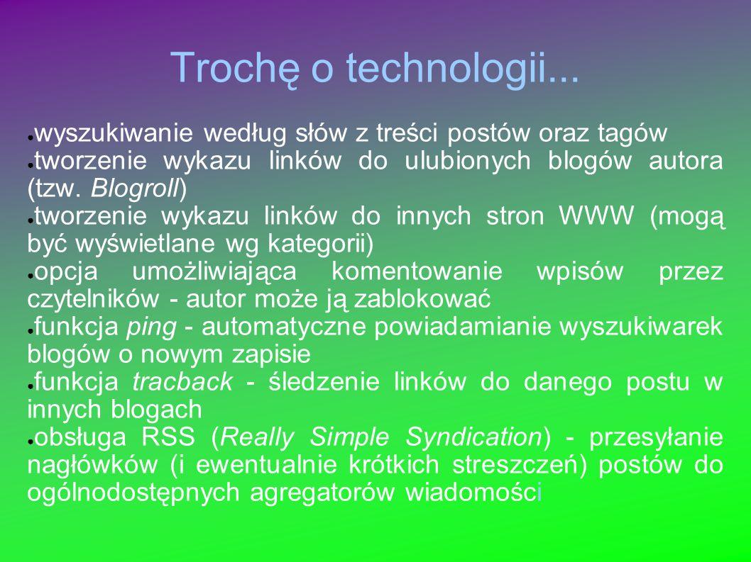 Trochę o technologii... wyszukiwanie według słów z treści postów oraz tagów. tworzenie wykazu linków do ulubionych blogów autora (tzw. Blogroll)