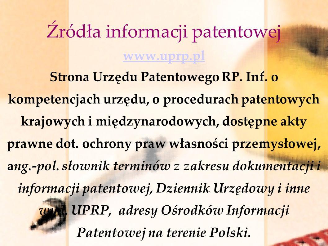 Źródła informacji patentowej