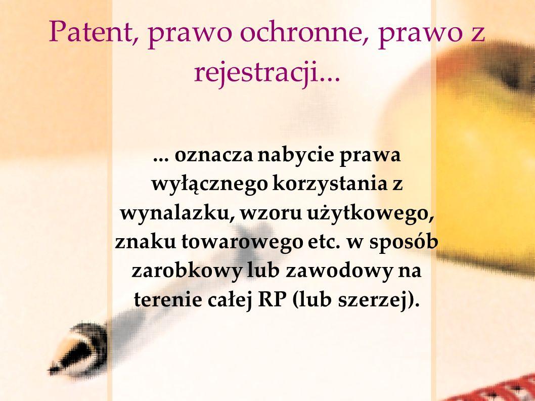Patent, prawo ochronne, prawo z rejestracji...