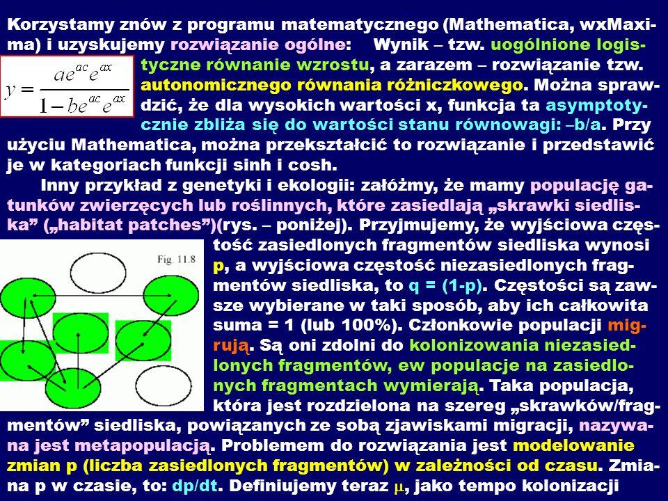 Korzystamy znów z programu matematycznego (Mathematica, wxMaxi-ma) i uzyskujemy rozwiązanie ogólne: Wynik – tzw.
