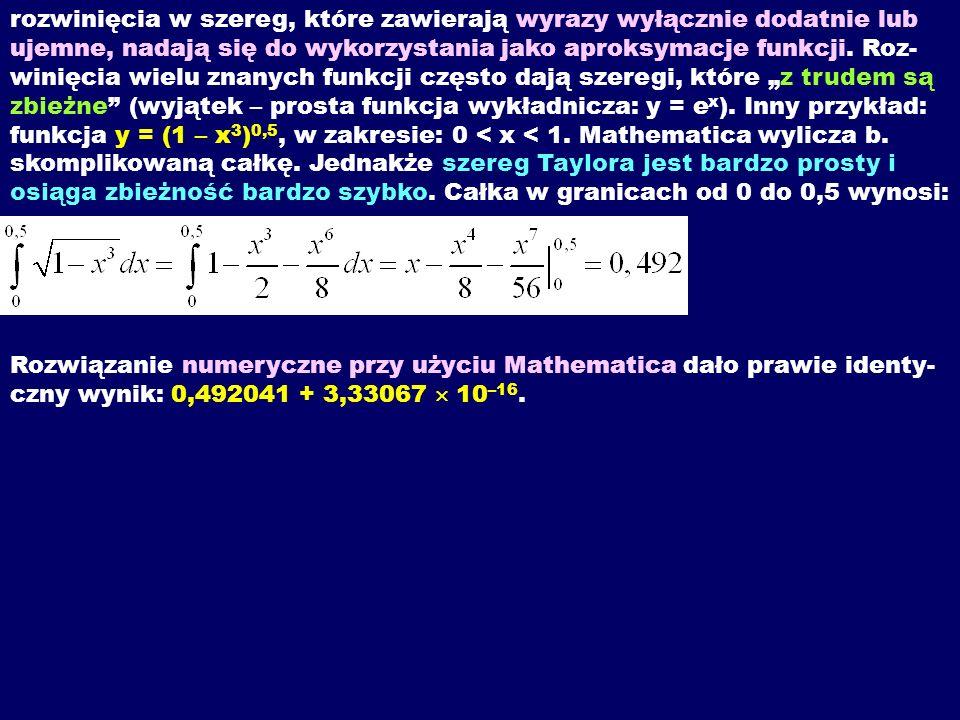 rozwinięcia w szereg, które zawierają wyrazy wyłącznie dodatnie lub ujemne, nadają się do wykorzystania jako aproksymacje funkcji.