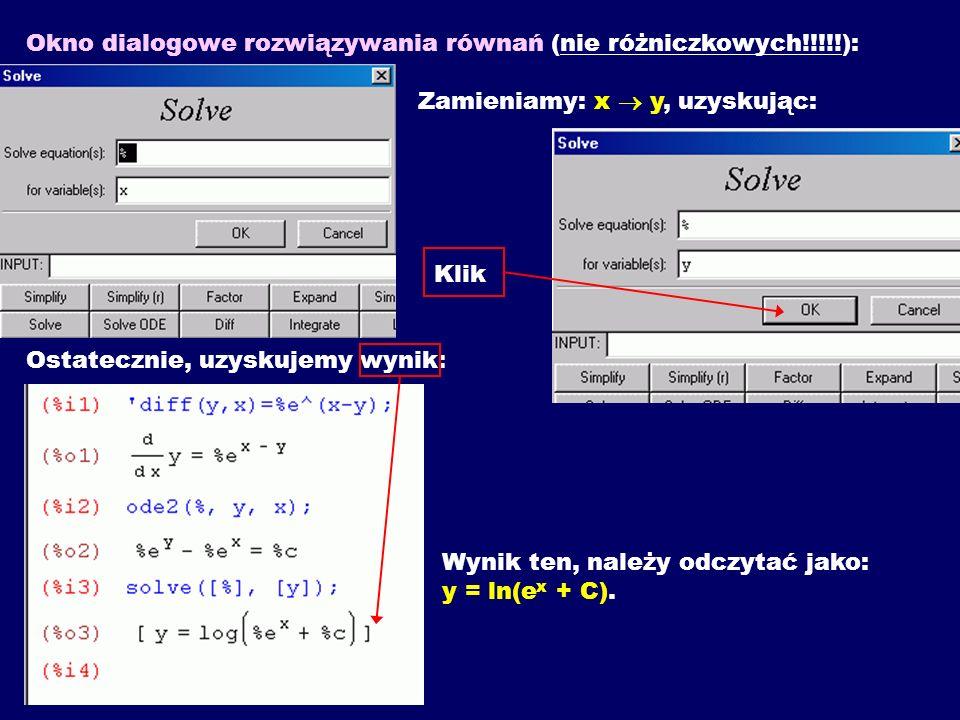 Okno dialogowe rozwiązywania równań (nie różniczkowych. ):