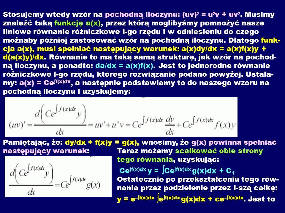 Stosujemy wtedy wzór na pochodną iloczynu: (uv)' = u'v + uv'