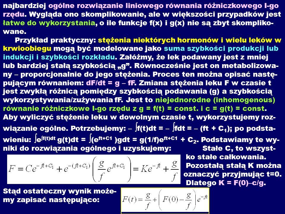 najbardziej ogólne rozwiązanie liniowego równania różniczkowego I-go rzędu.