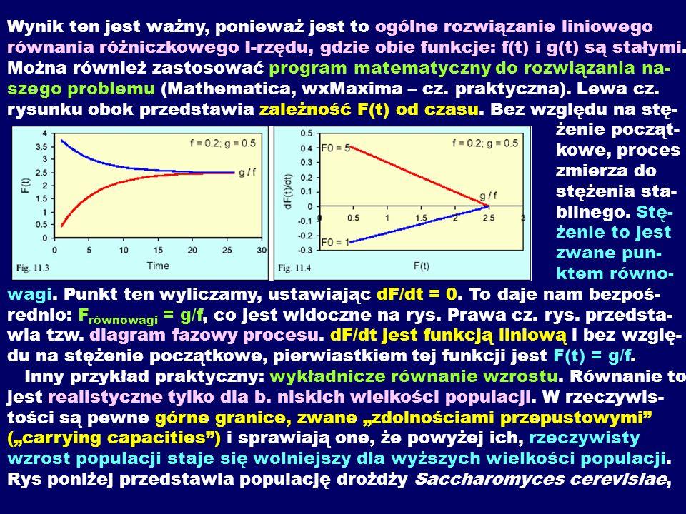 """Wynik ten jest ważny, ponieważ jest to ogólne rozwiązanie liniowego równania różniczkowego I-rzędu, gdzie obie funkcje: f(t) i g(t) są stałymi. Można również zastosować program matematyczny do rozwiązania na- szego problemu (Mathematica, wxMaxima – cz. praktyczna). Lewa cz. rysunku obok przedstawia zależność F(t) od czasu. Bez względu na stę- żenie począt- kowe, proces zmierza do stężenia sta- bilnego. Stę- żenie to jest zwane pun- ktem równo- wagi. Punkt ten wyliczamy, ustawiając dF/dt = 0. To daje nam bezpoś- rednio: Frównowagi = g/f, co jest widoczne na rys. Prawa cz. rys. przedsta- wia tzw. diagram fazowy procesu. dF/dt jest funkcją liniową i bez wzglę- du na stężenie początkowe, pierwiastkiem tej funkcji jest F(t) = g/f. Inny przykład praktyczny: wykładnicze równanie wzrostu. Równanie to jest realistyczne tylko dla b. niskich wielkości populacji. W rzeczywis- tości są pewne górne granice, zwane """"zdolnościami przepustowymi (""""carrying capacities ) i sprawiają one, że powyżej ich, rzeczywisty wzrost populacji staje się wolniejszy dla wyższych wielkości populacji."""