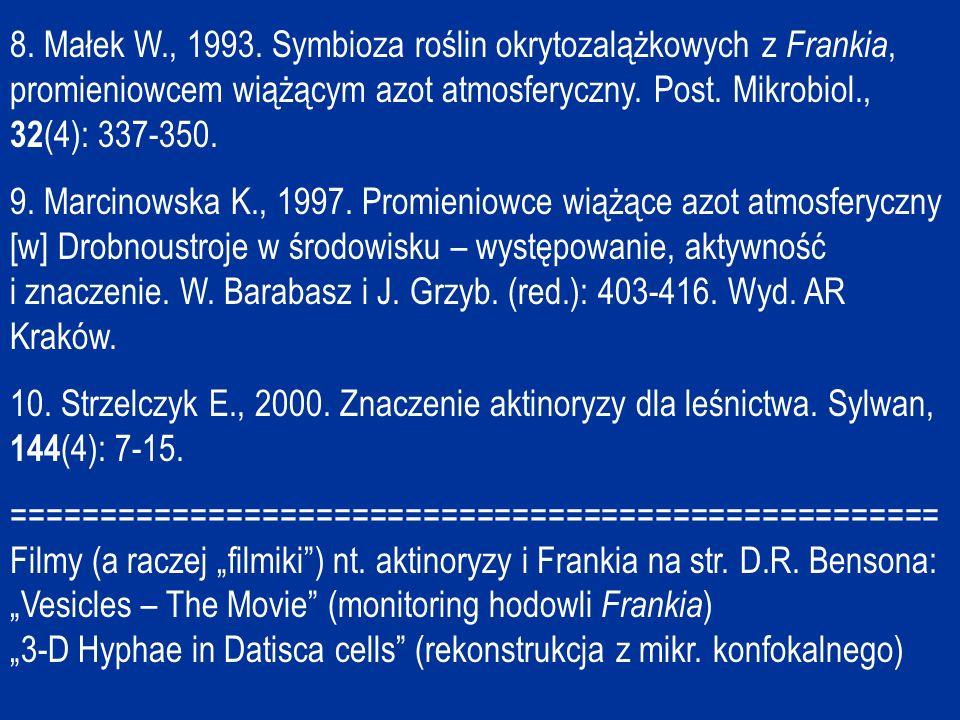 8. Małek W., 1993. Symbioza roślin okrytozalążkowych z Frankia, promieniowcem wiążącym azot atmosferyczny. Post. Mikrobiol., 32(4): 337-350.