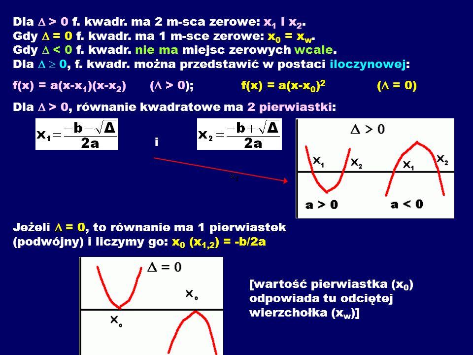 Dla  > 0 f. kwadr. ma 2 m-sca zerowe: x1 i x2. Gdy  = 0 f. kwadr