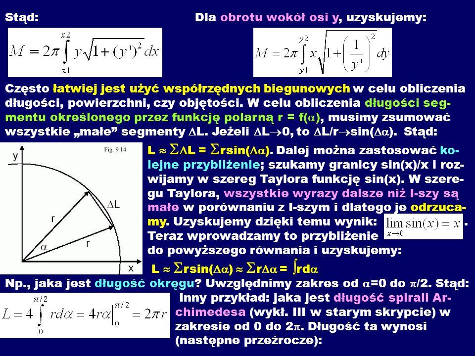 Stąd: Dla obrotu wokół osi y, uzyskujemy: Często łatwiej jest użyć współrzędnych biegunowych w celu obliczenia długości, powierzchni, czy objętości.