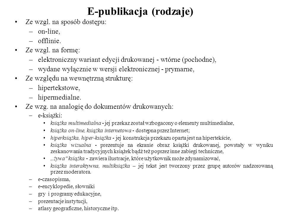 E-publikacja (rodzaje)