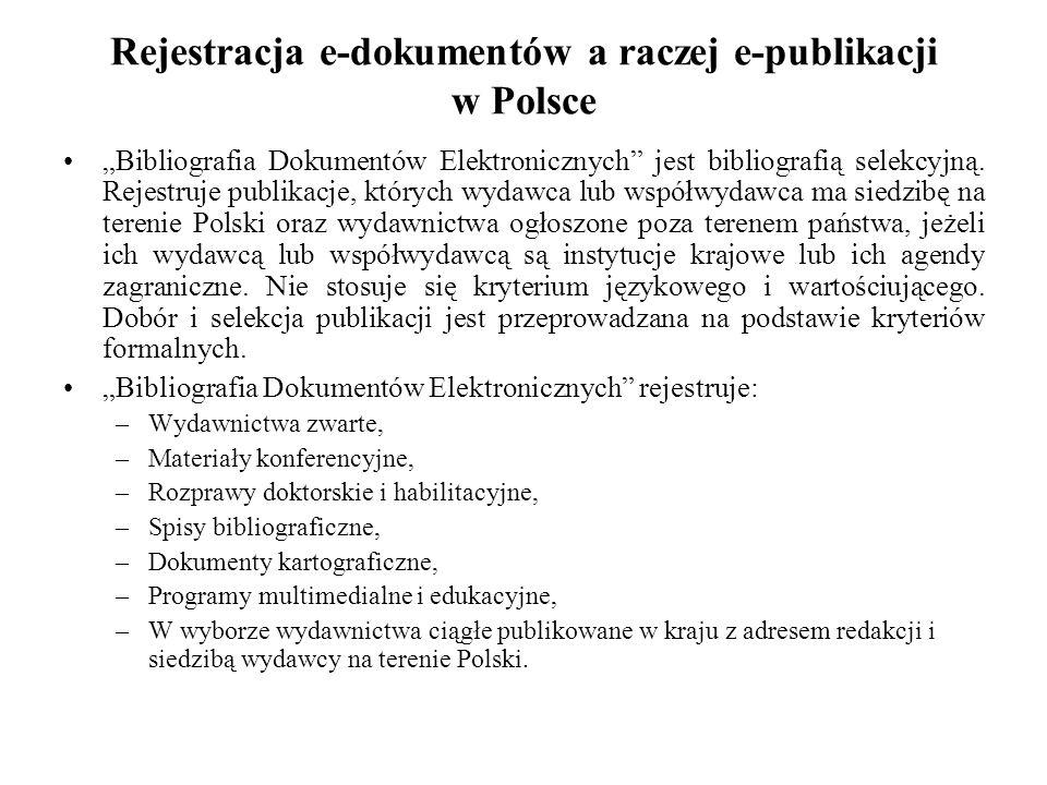 Rejestracja e-dokumentów a raczej e-publikacji w Polsce
