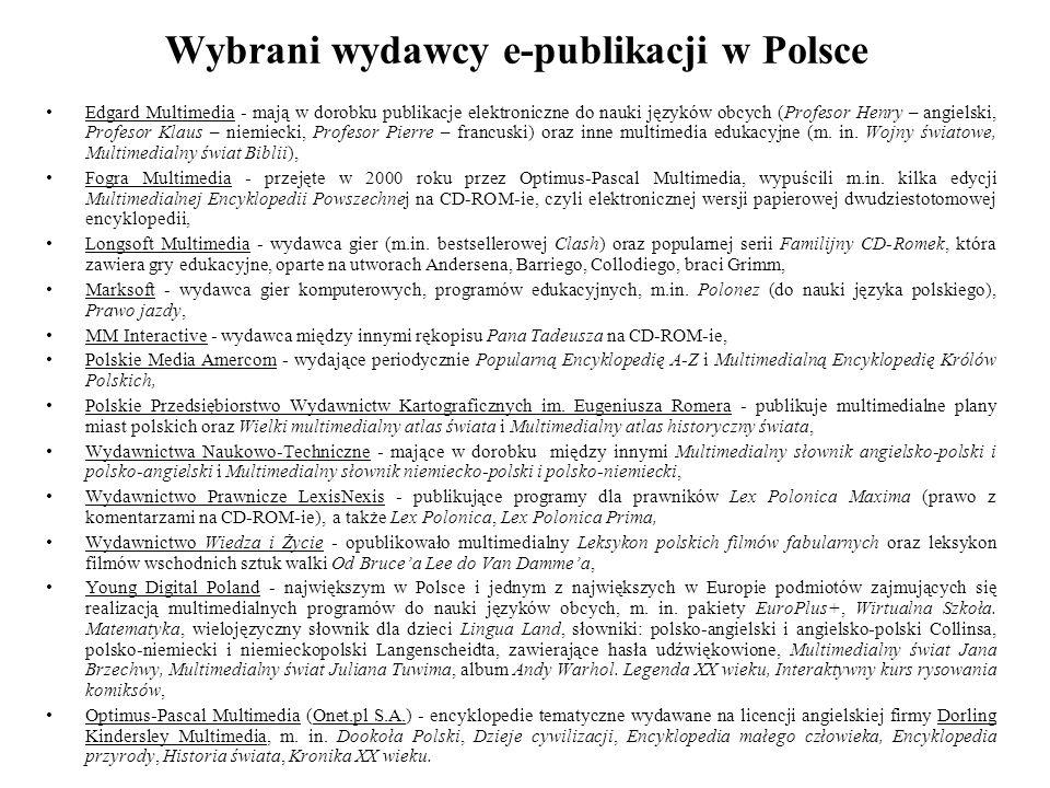 Wybrani wydawcy e-publikacji w Polsce