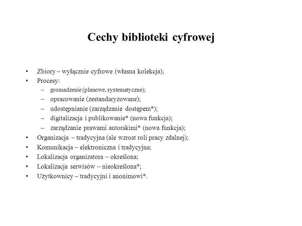 Cechy biblioteki cyfrowej