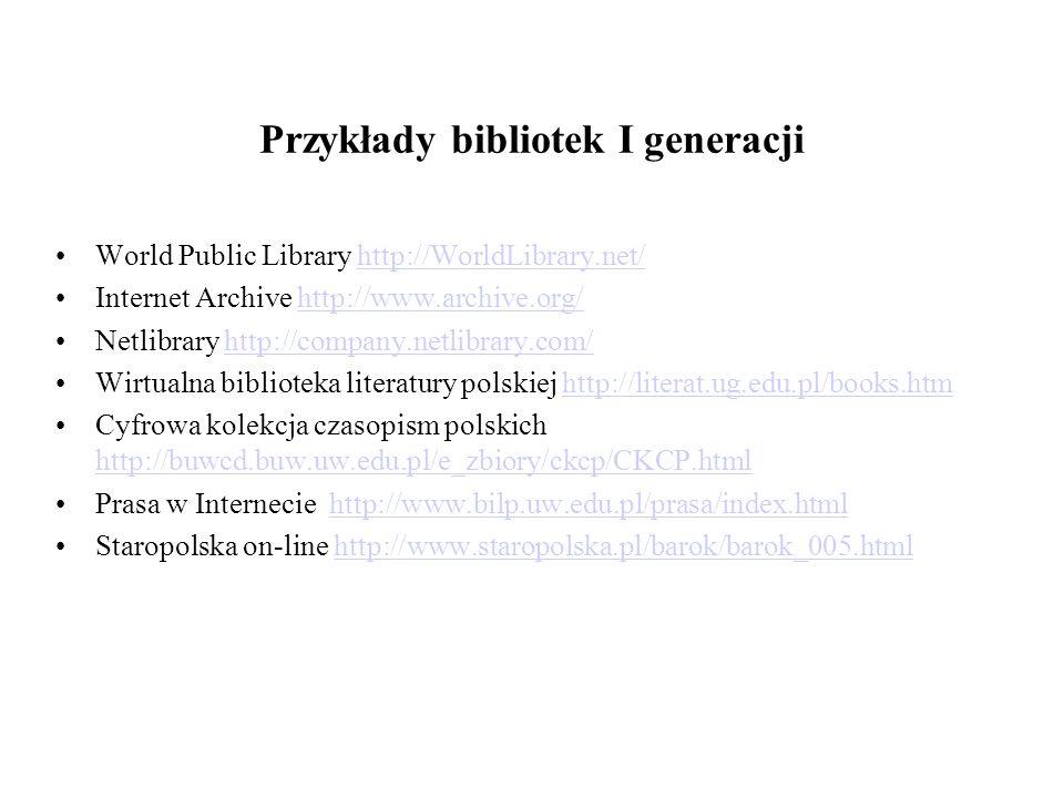Przykłady bibliotek I generacji