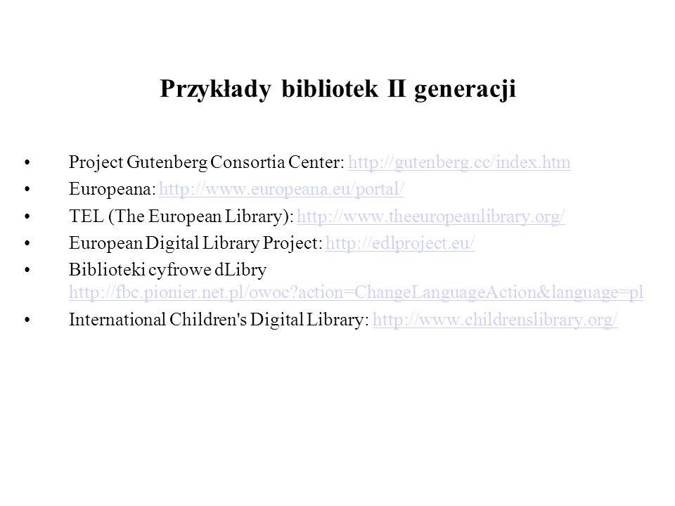Przykłady bibliotek II generacji