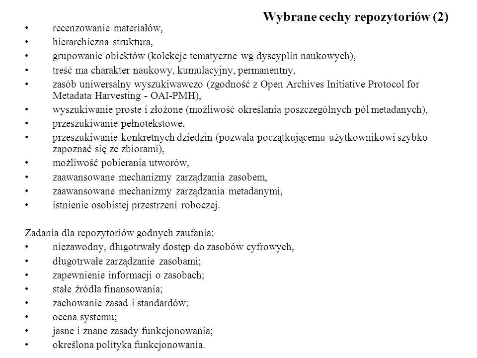 Wybrane cechy repozytoriów (2)