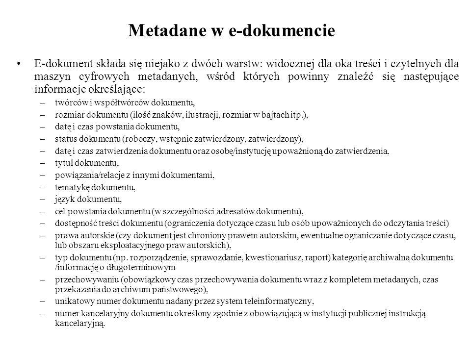 Metadane w e-dokumencie