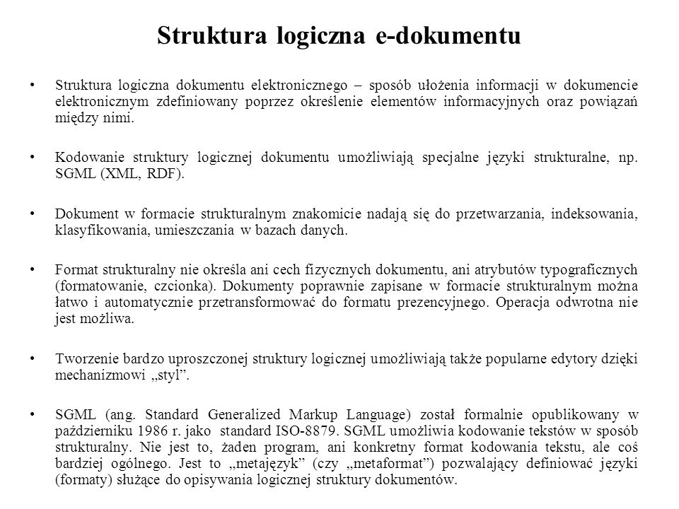 Struktura logiczna e-dokumentu