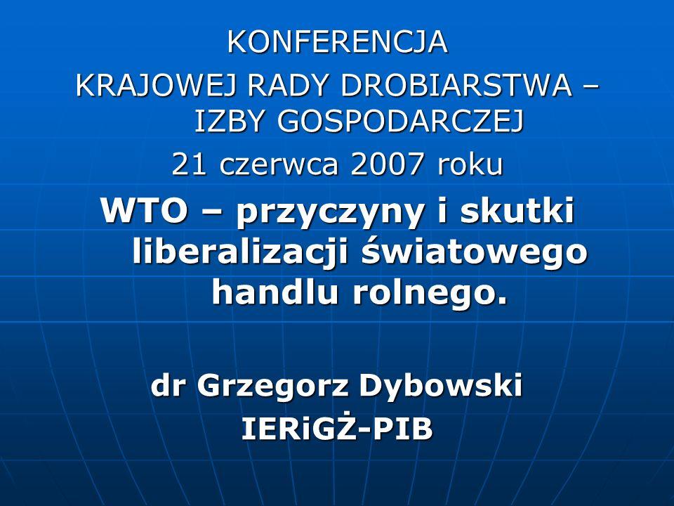 WTO – przyczyny i skutki liberalizacji światowego handlu rolnego.