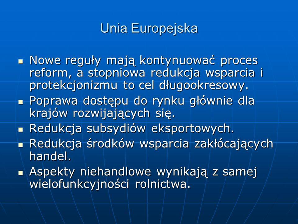 Unia Europejska Nowe reguły mają kontynuować proces reform, a stopniowa redukcja wsparcia i protekcjonizmu to cel długookresowy.