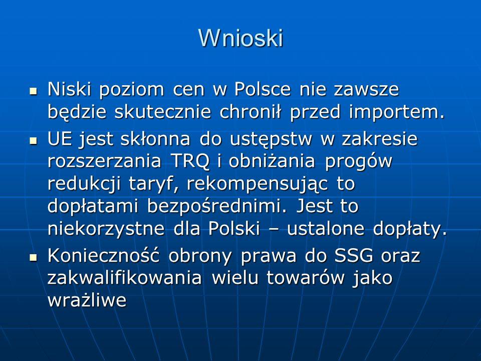 Wnioski Niski poziom cen w Polsce nie zawsze będzie skutecznie chronił przed importem.
