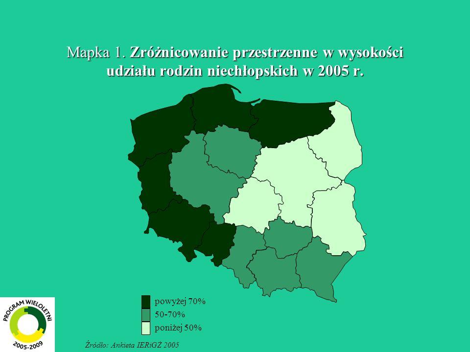 Mapka 1. Zróżnicowanie przestrzenne w wysokości udziału rodzin niechłopskich w 2005 r.