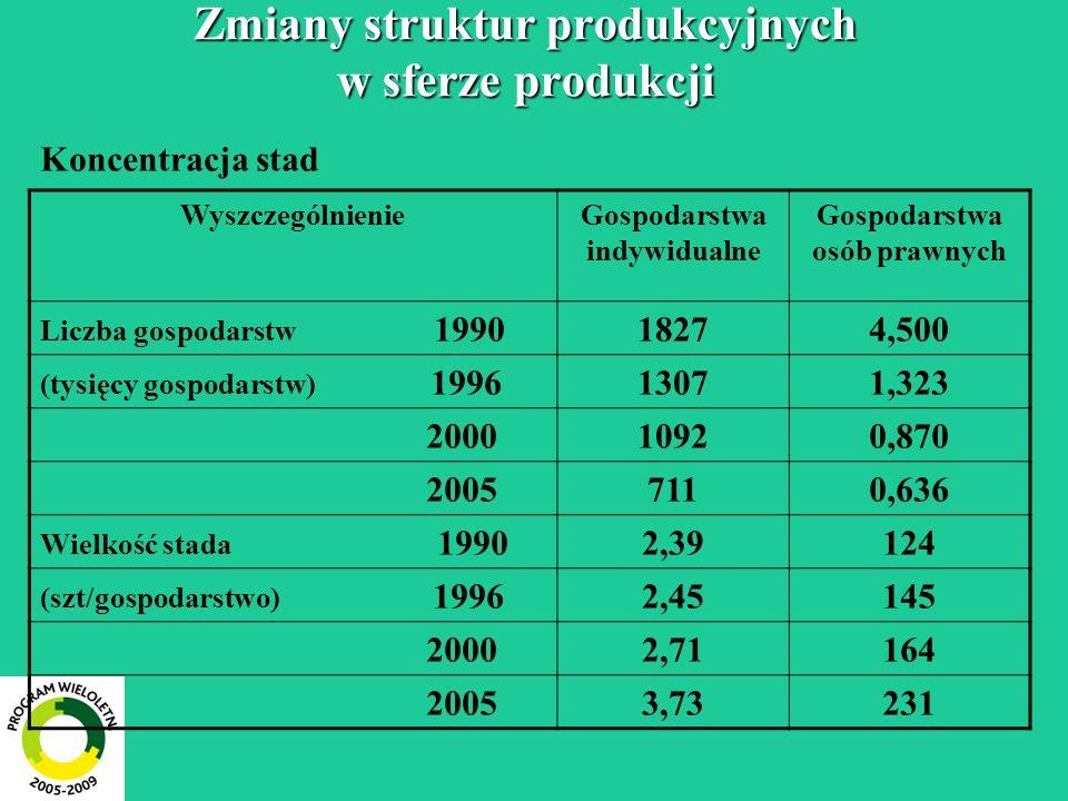 Zmiany struktur produkcyjnych w sferze produkcji