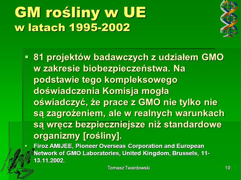 GM rośliny w UE w latach 1995-2002