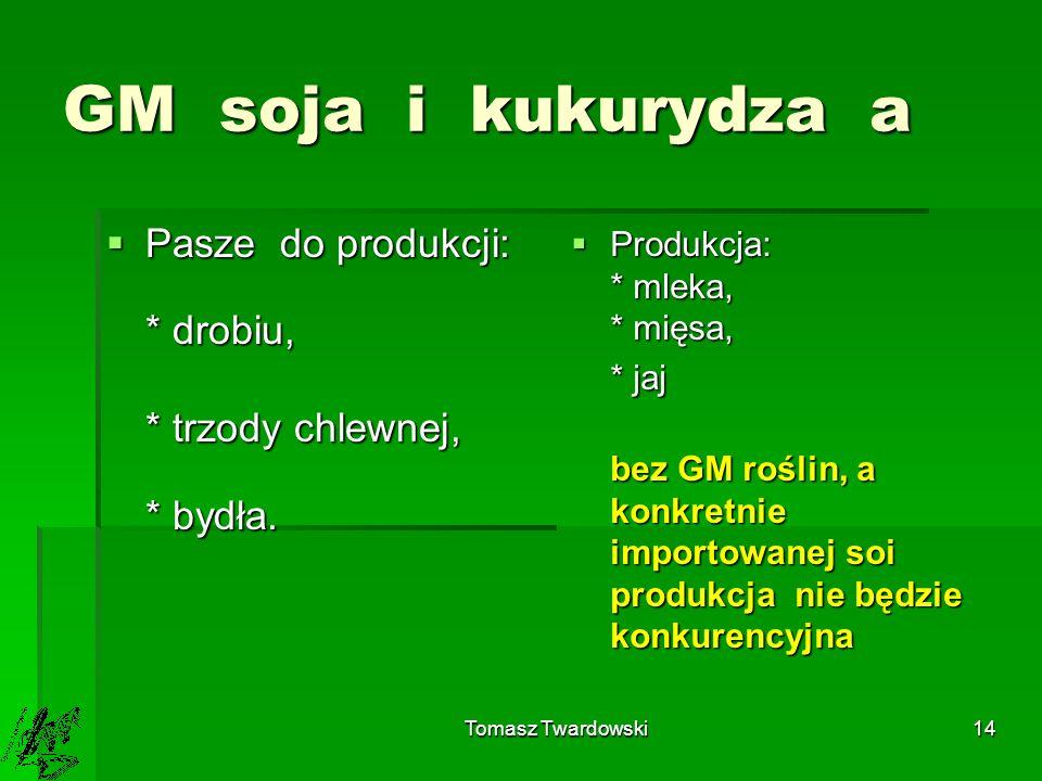 GM soja i kukurydza a Pasze do produkcji: * drobiu,