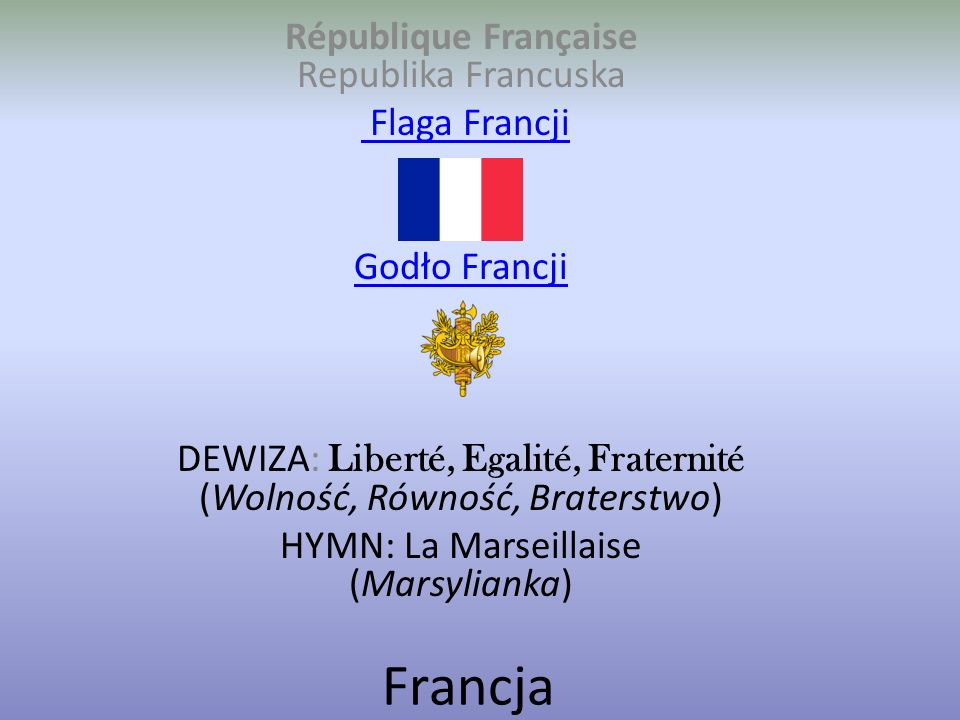 Francja République Française Republika Francuska Flaga Francji