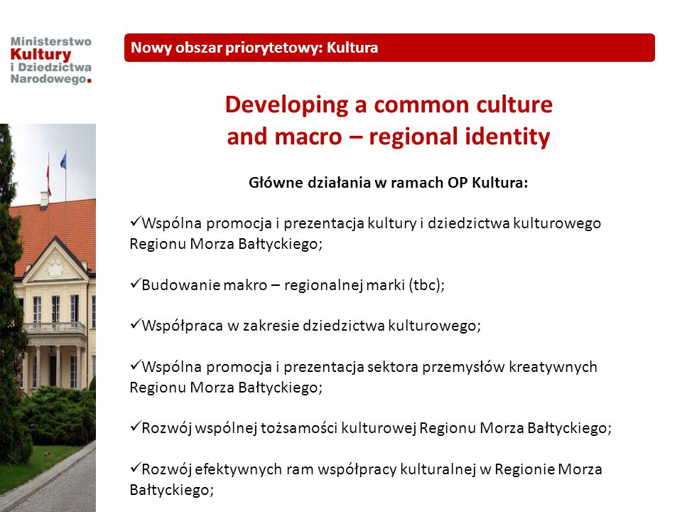 Developing a common culture and macro – regional identity