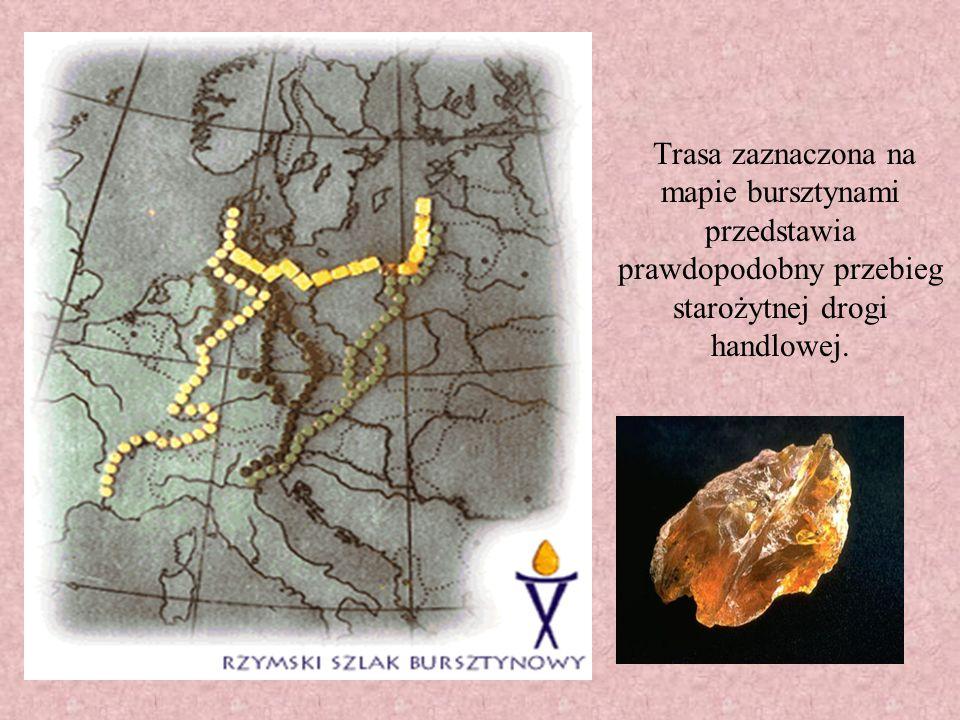 Trasa zaznaczona na mapie bursztynami przedstawia prawdopodobny przebieg starożytnej drogi handlowej.