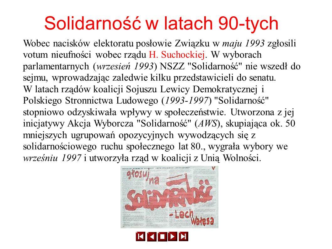 Solidarność w latach 90-tych