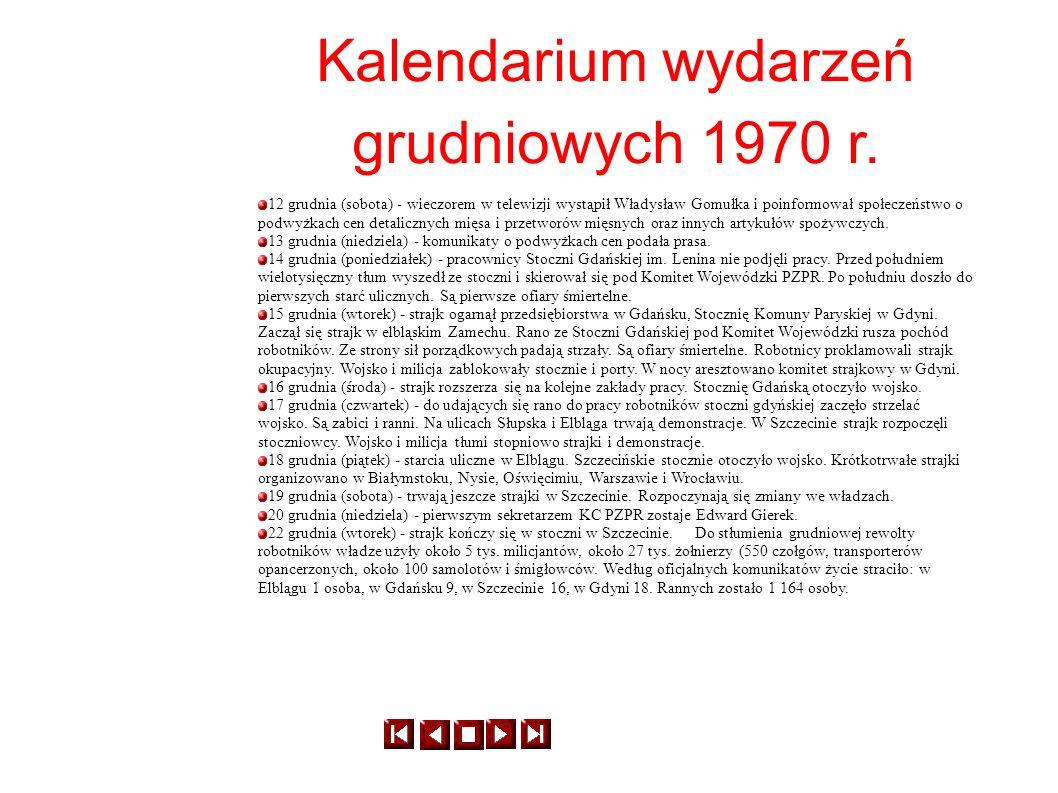 Kalendarium wydarzeń grudniowych 1970 r.