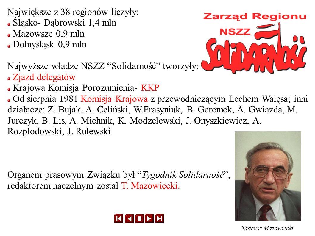 Największe z 38 regionów liczyły: Śląsko- Dąbrowski 1,4 mln