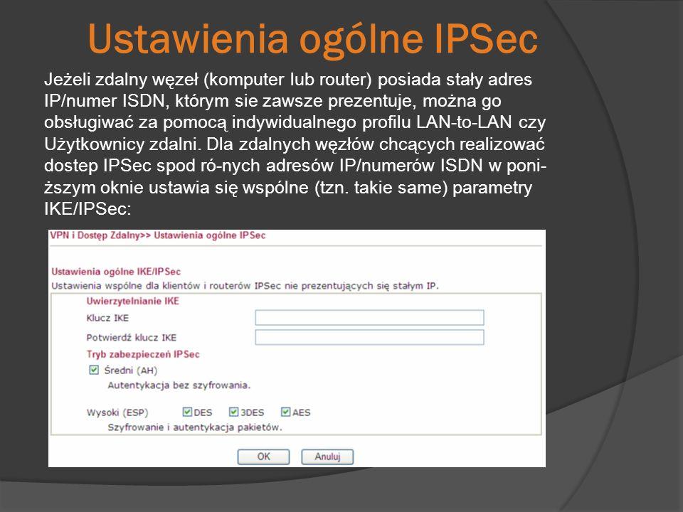 Ustawienia ogólne IPSec