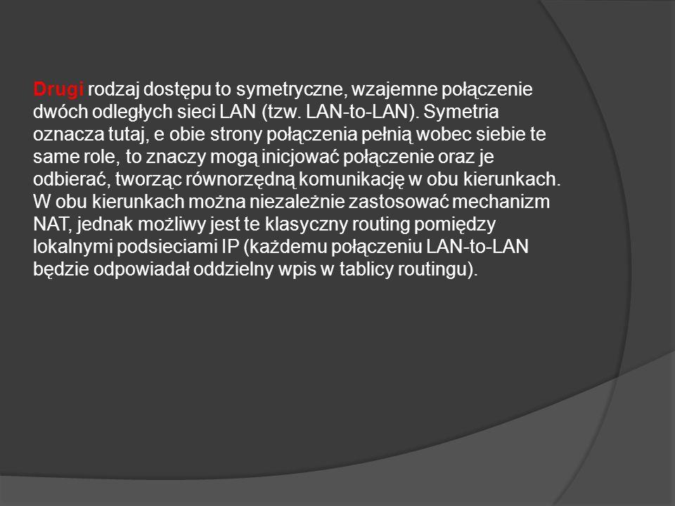 Drugi rodzaj dostępu to symetryczne, wzajemne połączenie dwóch odległych sieci LAN (tzw.