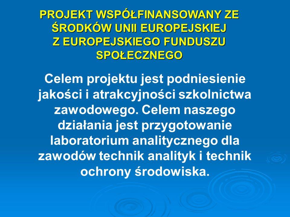 PROJEKT WSPÓŁFINANSOWANY ZE ŚRODKÓW UNII EUROPEJSKIEJ Z EUROPEJSKIEGO FUNDUSZU SPOŁECZNEGO