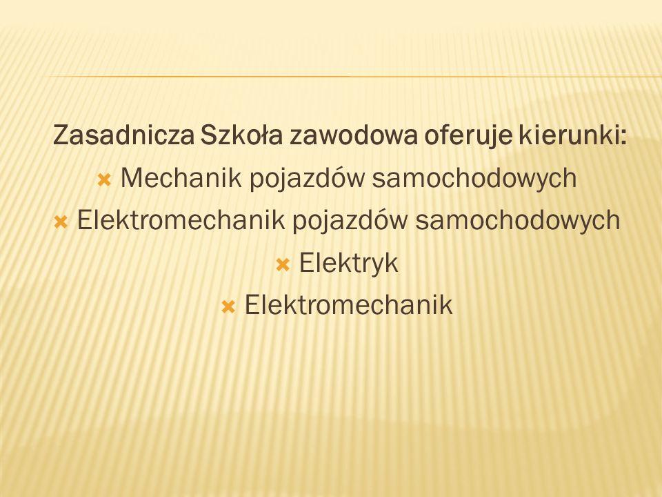 Zasadnicza Szkoła zawodowa oferuje kierunki:
