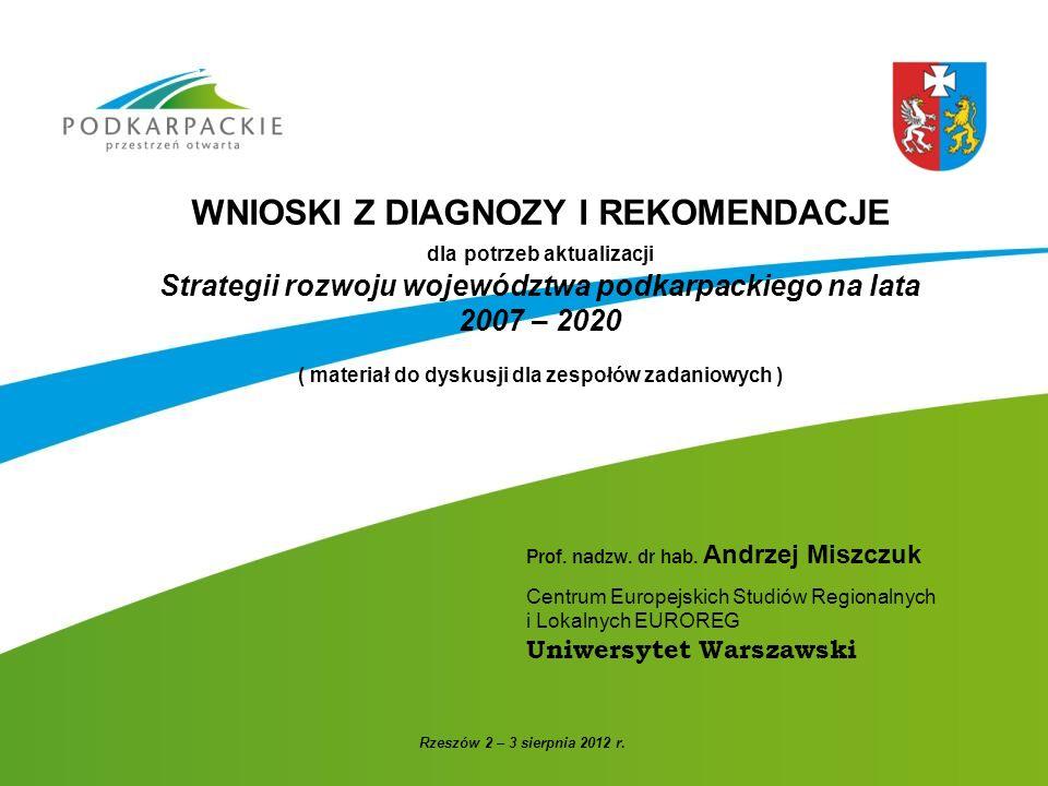 WNIOSKI Z DIAGNOZY I REKOMENDACJE dla potrzeb aktualizacji Strategii rozwoju województwa podkarpackiego na lata 2007 – 2020 ( materiał do dyskusji dla zespołów zadaniowych )