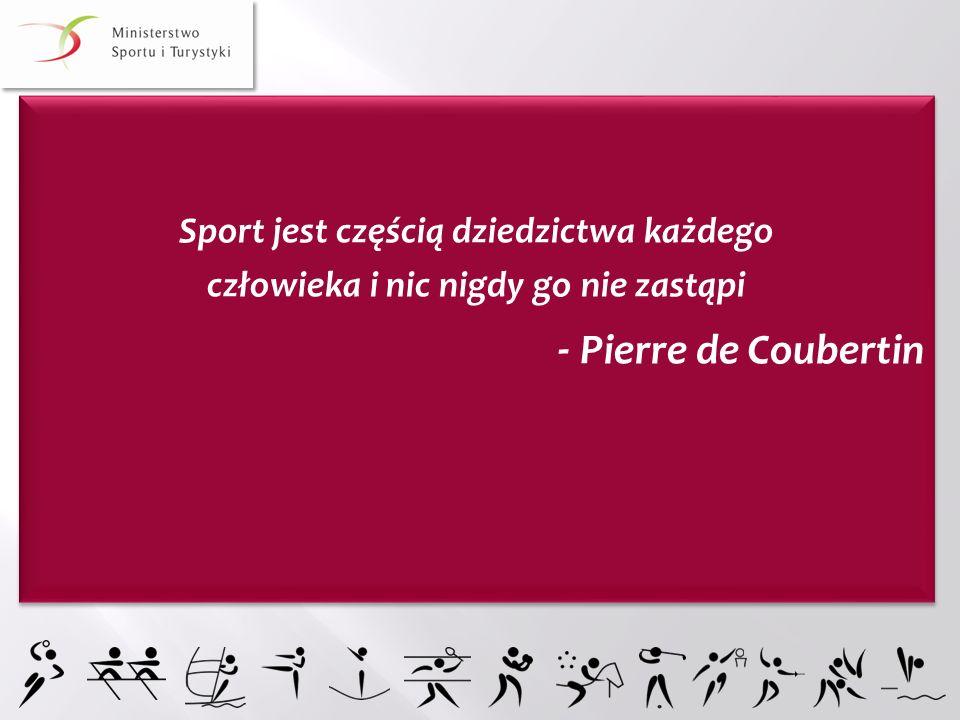 - Pierre de Coubertin Sport jest częścią dziedzictwa każdego